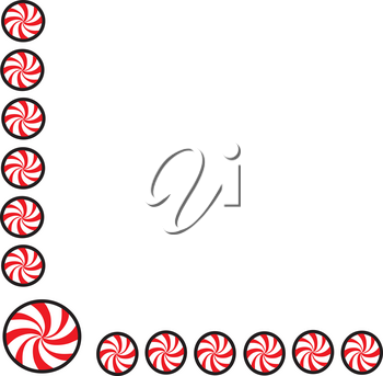 Clipart Illustration of a Peppermint Border