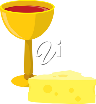 Clip Art Illustration Of A Goblet Of Wine With A Chunk Of Swiss Cheese
