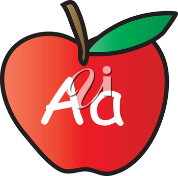 Clip Art Illustration Of An Apple With The Letter A Written On It