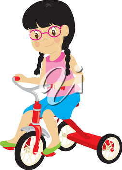 Clip Art Illustration Of A Little Girl Riding A Tricycle
