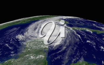 Stoock photograph of Hurricane Wilma over the Gulf of Mexico as it picks up power and speed on its way towards Florida. This satellite image is from the public domain archives of the NOAA and has been enhanced by Acclaim Images. GOES-12 1 km visible imagery recorded on October 23, 2005.