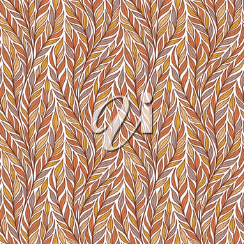 Hand drawn pattern with decorative floral ornament. Stylized colorful branches. Summer spring background, nature collection. Vector illustration