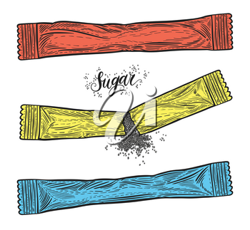 Hand drawn sugar packages. Snack bar sachets isolated on white background. Decorative doodle vector illustration