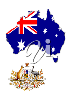 The map of Australia on the background of its flag with its arms
