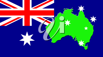 The map of Australia on the background of its flag