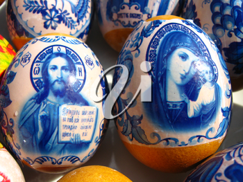 Easter eggs with Jesus Christ's image and Divine mother