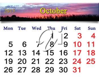 calendar for October of 2015 with the ribbon of moss and leaves