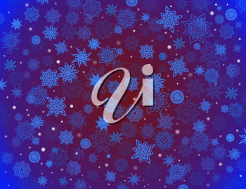 fabulous beautiful snowflakes on the blue and crimson background for holiday card