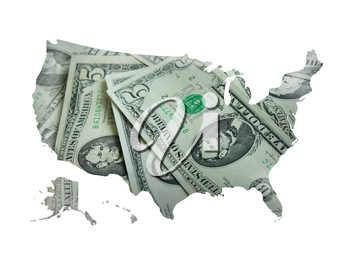 image of map of United States of America made from dollars