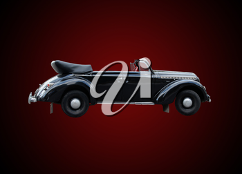 retro car cabriolet isolated on the dark background