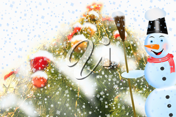 Christmas card with beautiful Christmas tree and cheerful snowman