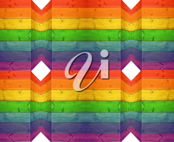 wooden boards in multicolored decorative colors of rainbow