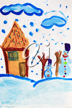 Christmas childish drawing of fabulous snowman and house