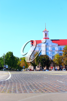 beautiful central square in Chernihiv with beautiful building of Court of Appeal of Chernihiv region