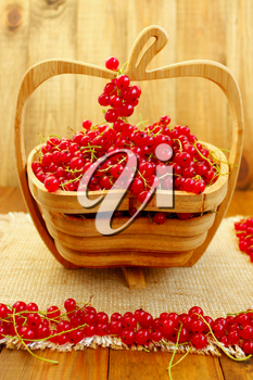 fresh ripe berries of red currant on the wooden vase