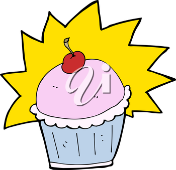 Royalty Free Clipart Image of a Cupcake with Cherry