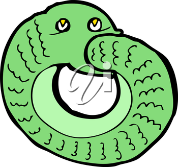 Royalty Free Clipart Image of a Snake Eating it's Own Tail