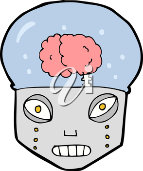 Royalty Free Clipart Image of a Robot with a Visible Brain