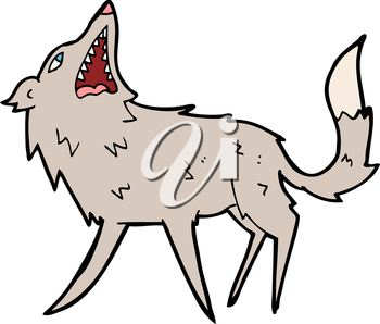 Royalty Free Clipart Image of a Snapping Wolf