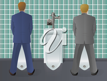 Bathroom scene with businessmen
