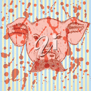 Sketch pig with mustache, vector vintage background