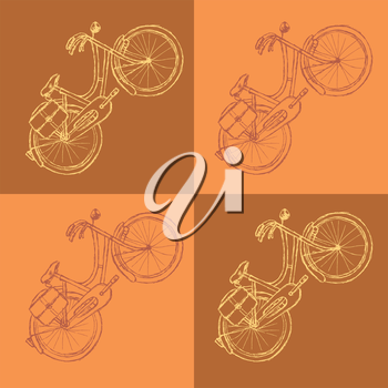 Sketch bicycle, vector vintage background eps 10