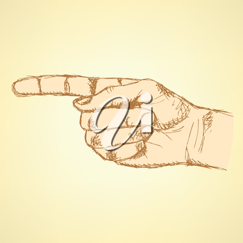 Pointing  hand, vector vintage background in sketch style