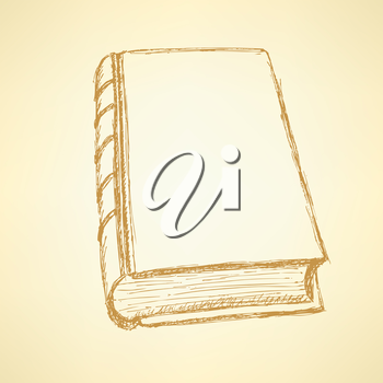 Sketch cute closed book in vintage style