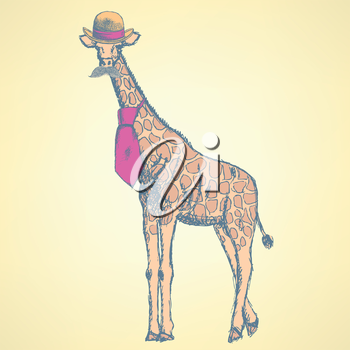 Sketch giraffe hipster in hat and tie, with mustache