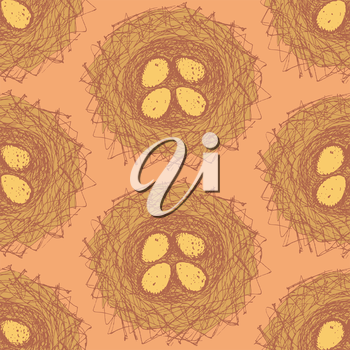 Sketch nest in vintage style, vector sea,less pattern