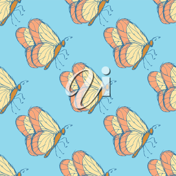 Sketch butterfly  in vintage style, vector seamless pattern
