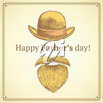 Sketch Father's day card in vintage style, vector