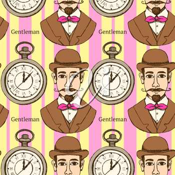 Sketch man in hat and pocket watch in vintage style, vector seamless pattern