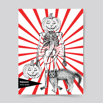 Sketch skeleton with curved pumpkin head and cat in vintage style, vector