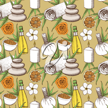 Sketch spa pattern in vintage style, vector