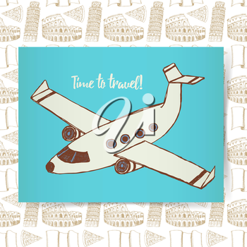 Sketch poster with plane in vintage style, vector