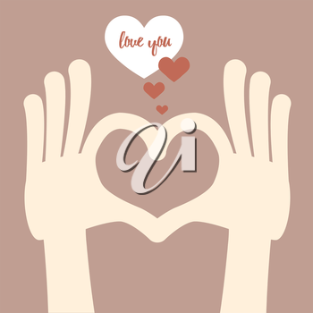 Heart fingers sign, love hands gesture with bubble