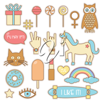 Fashion patches, set of sticker badges eps 10