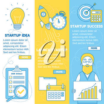 Startup banners. Business idea, launching startup and getting profit. Line design.