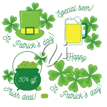 Clover, hat, beer and cauldron with gold, St. Patrick's day set of icons. Happy St. Patrick's day and discount text