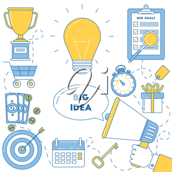 Big idea illustrtion. Working through ideas to get perfect solution and reach the goals