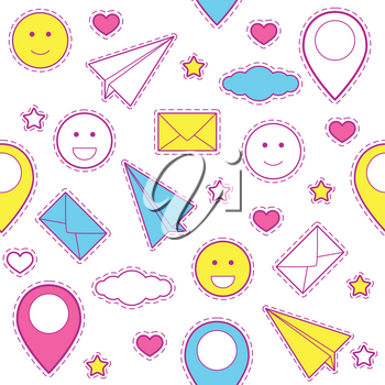 Emoticon pattern with paper plane, clouds, location pins and heart with stars