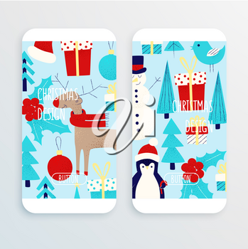 Christmas pattern with snowman, penguin and deer cell phone wallpaper