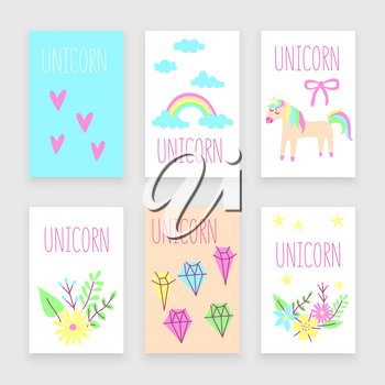 Unicorn poster, childish background design, vector