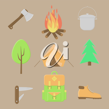 Camping icons, summer outdoor set, campfire and tent