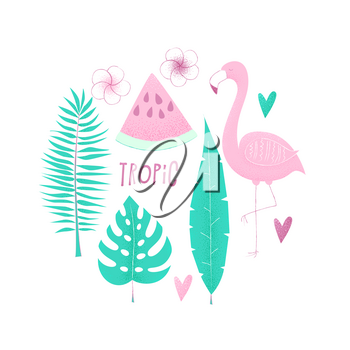 Tropical concept with flamingo, palm leaves and watermelon