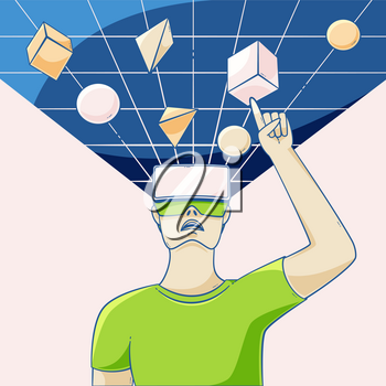 Augmented reality glasses illustration man looking up into virtual reality, concept