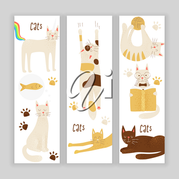 Cats vector banner concept, friendly and childish design