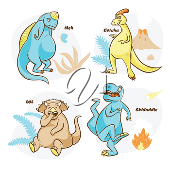 Dinosaur design with t-rex being scared, laughing triceratops, vector illustrations