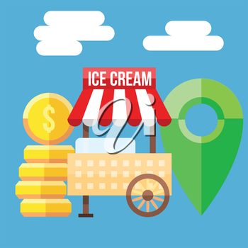 Retro vector illustration of Ice Cream Cart, coins and map point.